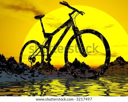 ... Bike on Dirt Mountain Bike Over The Rock Sunset Background Stock Photo
