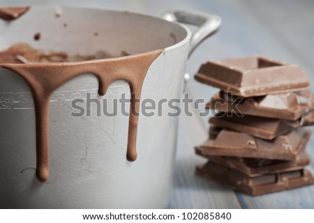 dirt pan with hot melted chocolate dripping and chocolate blocks, on wooden table