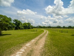 Dirt road driveway on a old Texas farm