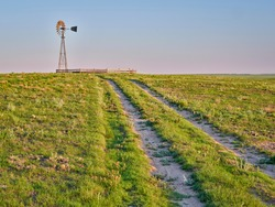dirt road in a green prairie leading to a windmill with a water pump in shortgrass prairie, Pawnee National Grassland in Colorado