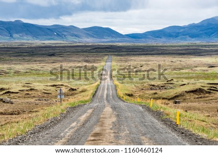 Dirt road in north east Iceland highlands highway 864 to Dettifoss with barren bare brown landscape, car and moss, grass on rocks, overcast cloudy day, volcanic landscape