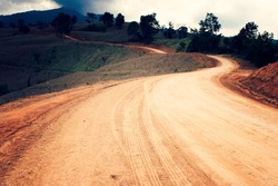 Dirt road in phayao thailand - vintage style