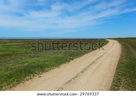 Dirt road in steppe