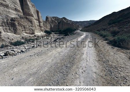 Dirt Road in the Judean Desert on the West Bank, Vintage Style Toned Picture