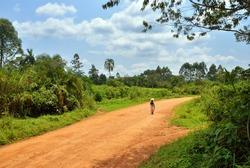 Dirt road in the jungle of Uganda, Africa