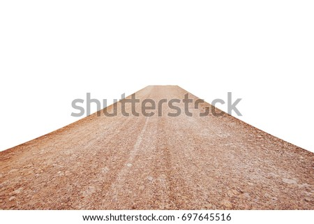 Dirt road isolated on white background. This has clipping path.    #697645516