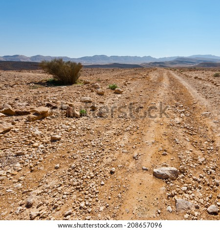 Dirt Road of the Negev Desert in Israel