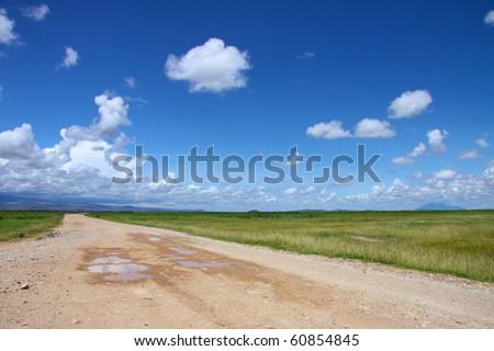 Dirt road running into the horizon