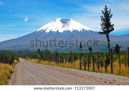 Dirt road that leads to the majestic Cotopaxi (the highest active volcano in the world), in the heart of the Andes, Ecuador, South America.