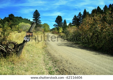 Dirt Roads in Montana in the Fall - stock photo