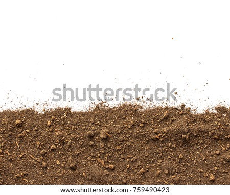 Dirt, soil pile isolated on white background, top view #759490423