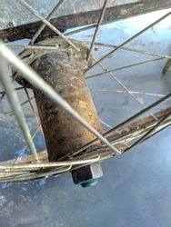 Dirty and rusty bicycle wheel drum taken from top.