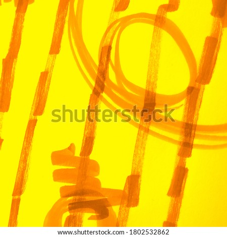 Dirty Art Painting. Mustard Curry Watercolor Texture. Summer Fire Color Lines Hard Grunge Texture. Yellow Sun Warm Scribble Design. Chaotic Scribble. Sunny Carrot Stripes