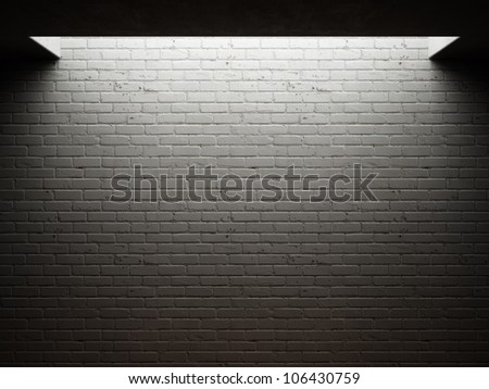 Dirty brick wall illuminated