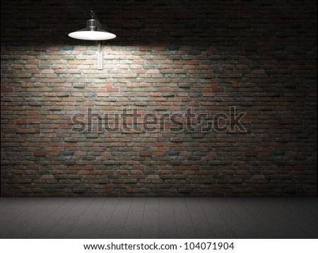 dirty brick wall illuminated by ...