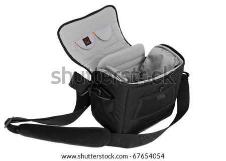 Dirty camera bag: used camera bag isolated on a white background