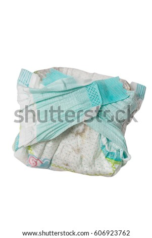 dirty diaper  isolated on the white background #606923762