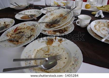 Dirty dishes after a meal