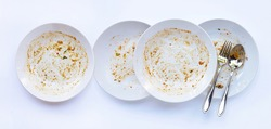 Dirty dishes on white background. Top view