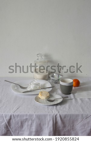 Dirty dishes on white table after breakfast Сток-фото ©