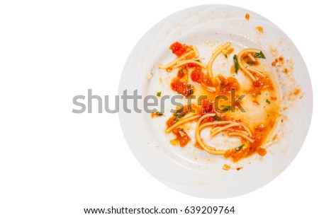 Shutterstock dirty dishes. sauce smeared on a plate.. top view. isolated on white