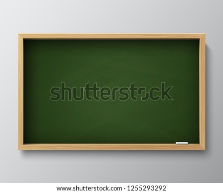 Dirty empty blackboard. Green chalkboard with wooden frame and chalk for classroom or restaurant menu illustration