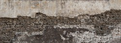 Dirty eroded cracked plaster fence panoramic scene.Destroyed crumbling cement mortar texture. Chipped structure stone facade.Textured overlay uneven surface for 3D loft interior design castle fortress