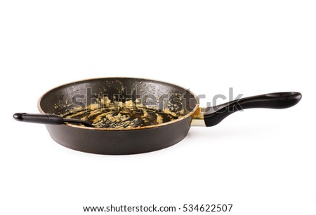 Dirty frying pan after cooking isolated on white background
