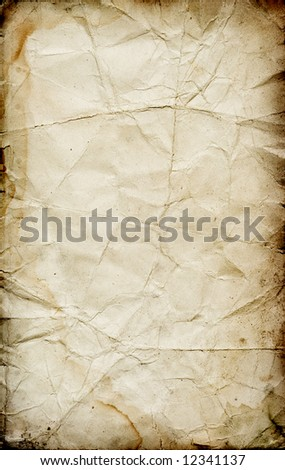 Dirty grunge damaged vintage paper texture with stains and dark borders