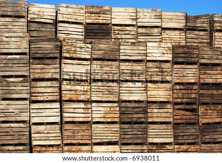 dirty grungy vegetable crates on farm
