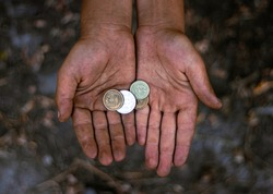 dirty hands money alms child poverty