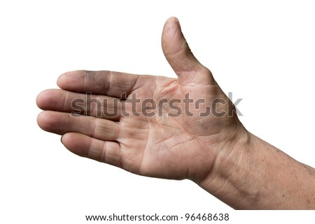 dirty hands of the old man on a white background - stock photo