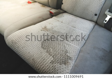 dirty  interior in the car.