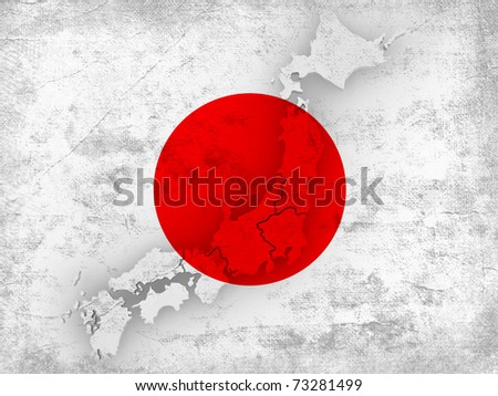 Dirty Japanese flag with map of Japan. 3d
