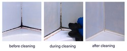 Dirty joints between the tiles in the bathroom. Toxic black mold in the corner of the bathroom before, after, and during cleaning.