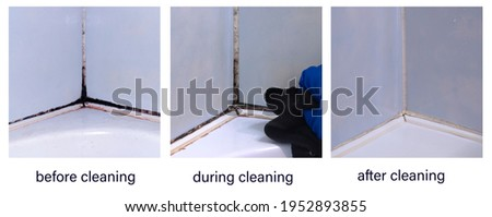 Dirty joints between the tiles in the bathroom. Toxic black mold in the corner of the bathroom before, after, and during cleaning. Foto d'archivio ©