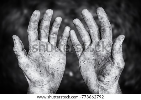 Dirty male hands after hard physical work in a black and white shot #773662792