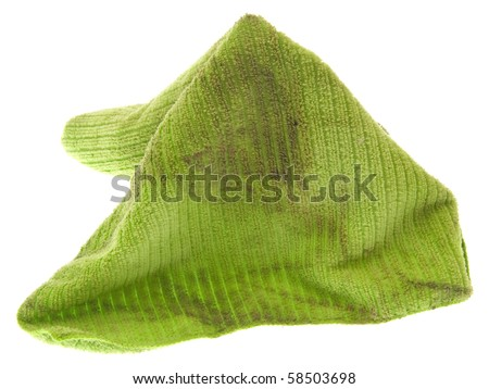 Dirty Microfiber Cleaning Cloth Isolated on White.