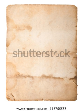 Dirty old paper isolated on white