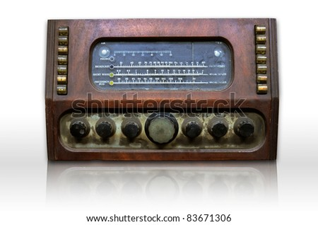 Dirty old radio on white and reflect