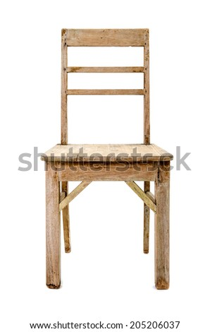 dirty old wooden chair isolated on white background
