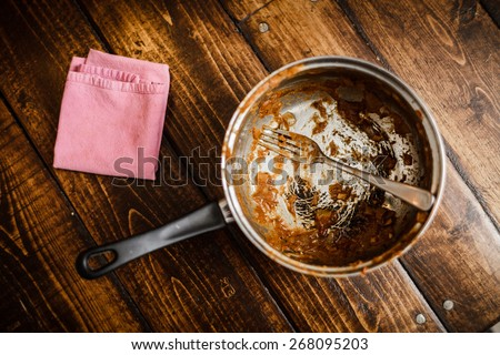 Dirty Pan After a Dinner on a Table. That was the meal of a Student or a teenager