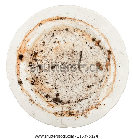 Dirty plate isolated on white background