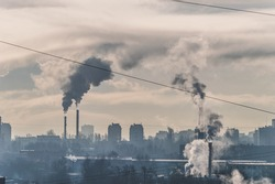 dirty pollution city, pollution pipes in Moscow, Russia