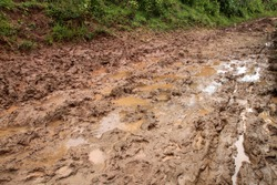 Dirty road in the field, Shan state, Myanmar