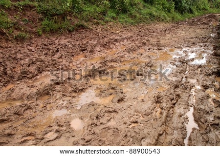 Dirty road in the field, Shan state, Myanmar