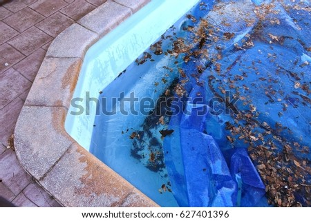 Dirty rough swimming pool which need to be cleaned