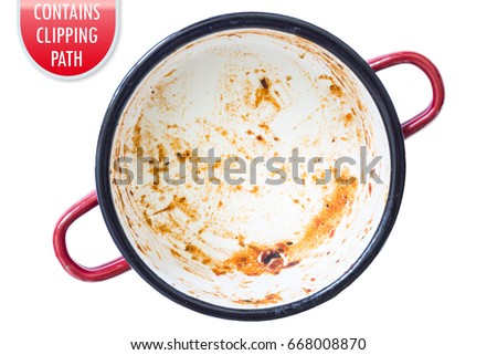 Dirty saucepan isolated on white with clipping or working path