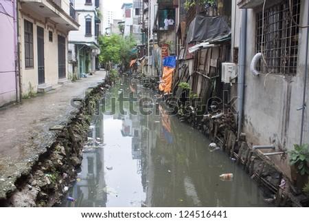 Dirty sewer in Hanoi, Vietnam