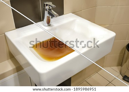 Dirty sink before and after clearing the blockage. Clog problems in the bathroom and toilet Foto stock ©
